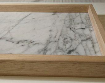 Marble and timber tray - Carrara and oak