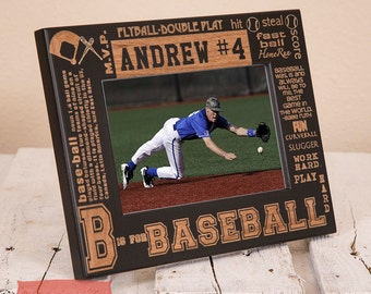 Personalized Baseball Picture Frame-Wood Engraved-Get your name/number engraved!