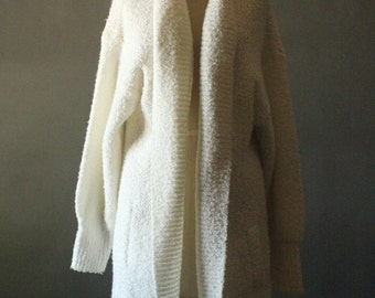 Vintage 80's/90's White Oversized Open Cardigan Sweater Jacket by Sideffects, size M