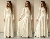 1940's Vintage Antique Liquid Satin Bohemian Wedding Dress Size XS