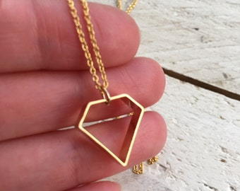 Golden Diamond Shape Outline Necklace, Geometric Minimal Pendant, Charm, Gift for her
