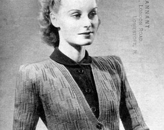 Lovely Slim Line 1940s Cardigan 32 to 34 Bust Weldons 294 Vintage Knitting Pattern Download