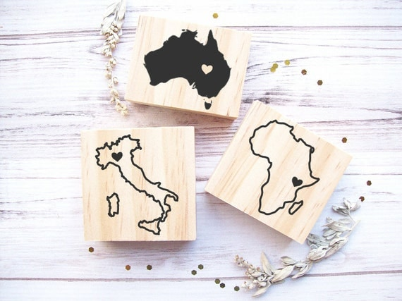 Continent or Country Rubber Stamp - Any Geographical Shape of Your Choice - Africa Italy Australia USA Mexico Spain Brazil France Islands