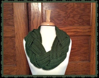 Green Braided Infinity Scarf Cowl Crochet Plait Scarves