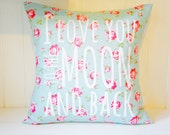I love you to the moon and back Pillow Cover, 20x20, blue with roses