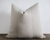 Pillow Cover Taupe Light Brown Ticking Vertical & Horizontal Stripes Zipper