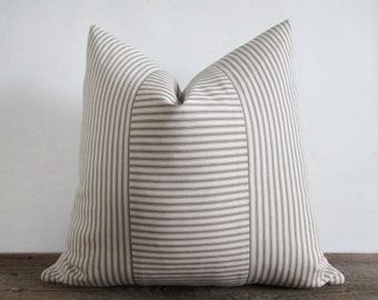 Pillow Cover Taupe Light Brown Ticking Vertical & Horizontal Stripes Zipper