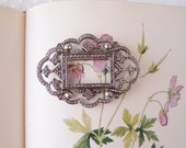 vintage Miriam Haskell marcasite cut steel initial photo frame brooch pin
