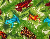 Green Jungle Orange Turquoise Frogs Print, Quilting or Craft Cotton Fabric, Leaves, Red Black Cream, 31 x 19, B22