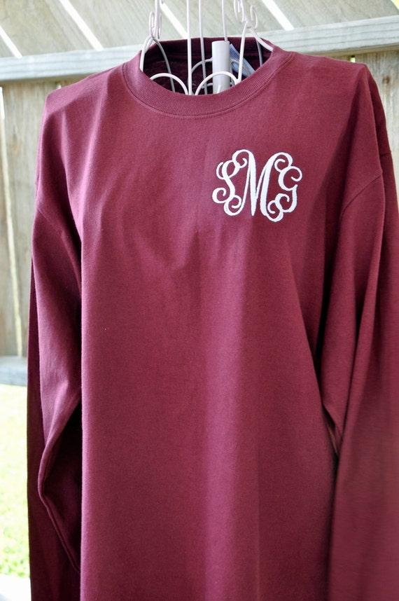 monogrammed long sleeve t shirt or short sleeve t