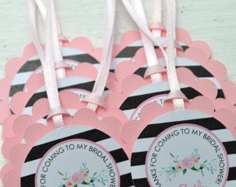 Bridal Shower Favor Tags, Wedding Thank You Tags, Bridal Shower Favors, Personalized Favor Tags, Bachelorette Favors, Floral - Set of 12