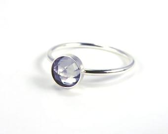 Alexandrite Ring, Silver Alexandrite Ring, Silver Stacking ring, stacking ring, birthstone stacking ring, color change ring, June birthstone