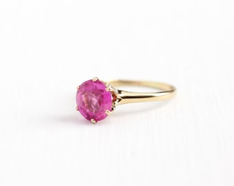 Sale - Vintage 14k Rosy Yellow Gold Created Pink Sapphire Ring - Edwardian Size 5 1/4 Pink Solitaire Gem Alternative Engagement Fine Jewelry