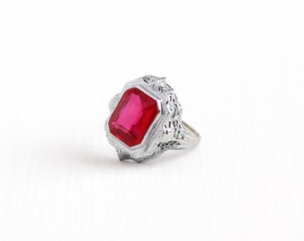 Sale - Antique 14k White Gold Created Ruby Ring - Size 3 3/4 Vintage Filigree Art Deco 1920s Pink Red Synthetic Gem Fine Statement Jewelry