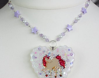 Lavender and Pink Unicorn Heart Resin Necklace