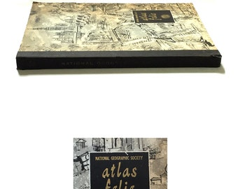 1958 National Geographic Society Atlas Folio - World Atlas - Civil War Battles - National Monuments - Holy Land