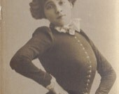 Toulouse Lautrec Model, and Cabaret Entertainer, Marcelle Lender. Bookmark Sized Postcard, circa 1905