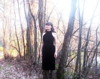 black Velvet dress Albert Nipon Evening 1980s Sleeveless M/L