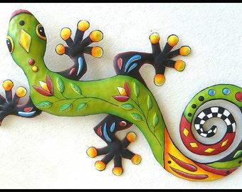 Painted Metal Art Gecko Wall Hanging, Metal Gecko Art,  Gecko Wall Art, Painted Metal Wall Art, Gecko Garden Art, Garden Decor - J425-GR