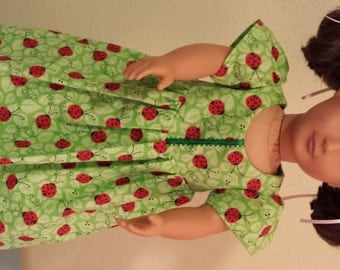 Doll Dress - green with ladybugs