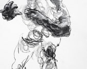 """Expressive and Abstract Figurative Drawing - Drawing 422 - 9 x 12"""" charcoal and pastel on paper - original drawing by Derek Overfield"""