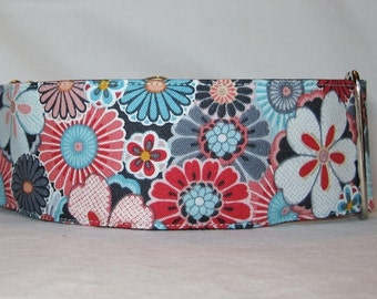 Floral Bundle Martingale Dog Collar - 1.5 Inch - flowers blue red white daisy adorable turquoise