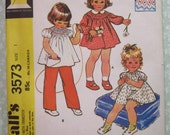 Toddler Girls Dress and Bloomers or Top and Pants (transfer for smocking included) Size 1 Vintage 1970's McCalls Pattern 3573 Cut/Complete