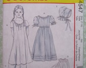 Girls Early American Costume Sizes 7-8, 10-12 and 14 UNCUT McCalls Pattern M4547 Back Button Dress, Pullover Chemise, Bonnet, Pantaloons
