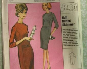Misses Skimmer Dress, Half-belted Size 14 16 UNCUT Vintage 1960's Pattern