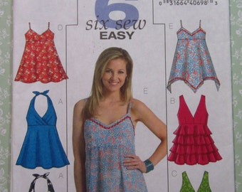 Easy to Sew Misses Summer Tops, Hip Length, Self-faced Bodices, Fabric Ties Sizes 6 8 10 12 Butterick Pattern B4800 UNCUT