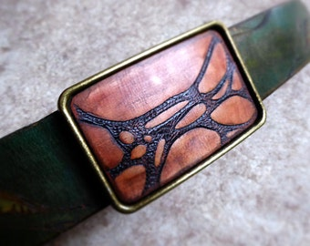 Leather Belt Buckle, Forest, Lichen, Belt Buckle, Artisan Belt Buckle, Rustic Style Leather