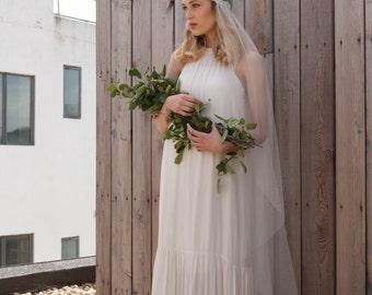 Bohemian Juliet Cap Wedding veil - Juliette Cap veil with beaded detailing - fingertip length - waltz length -chapel length veil