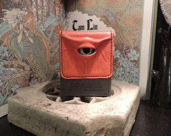 Magic the Gathering Deck Box (Grey with Orange Leather and Green/Yellow Eye)
