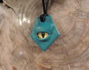 Mini Dragon eye pendant (Turquoise leather with Yellow eye)