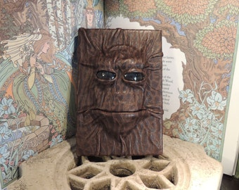 Mythical Beast Book (The  Alien- Dark Grey  eyes and Brown bark leather)