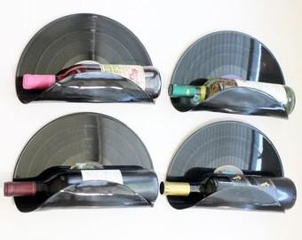 SALE - Bachelor Pad Vinyl Record Wine Rack Wall Organizer - Set of 4