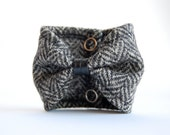 Bow Tie Cuff Wool and Faux Leather
