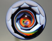 Rainbow Dreamscape Art Glass Vortex Marble with Lavender Purple back by Tim Keyzers