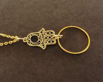 Gold Lanyard Hamsa Hand, Gold Eyeglass Chain Loop, Gold Hamsa Hand Glasses Chain, Hand of Fatima Eyeglass Chain, Simple Lanyard Gold