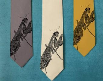 Praying Mantis Tie - Men's Necktie - Insect Art - Neck Tie - Husband's Gift - Persian Art Inspired