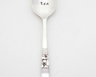 but first, TEA hand stamped vintage spoon. Gift for tea lover, drinker. Green. The ORIGINAL Hand Stamped Vintage Spoons™ by Sycamore Hill