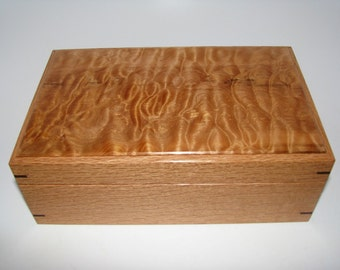 "Wood Keepsake Box. Quilted Maple and Oak Keepsake Box. 9.25"" x 5.75"" x 3.5""."