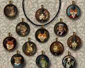 Animal Portrait Necklace, Victorian, Animal Portrait Pendant, Cat, Mouse, Squirrel, Fox, Rabbit, Animal Lover's Gift, Stocking Stuffer