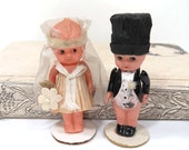 1920's Kewpie Bride & Groom Celluloid Dolls, Wedding Cake Topper, Original Box, Crepe Paper Clothes
