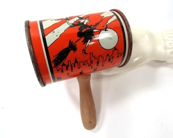 Vintage Witch Tin Noise Maker with Wood Handle - Orange & Black - HALLOWEEN, Party, Trick or Treat