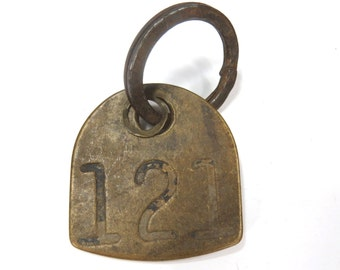 Brass Cattle Tag No. 121 & Industrial Ring -  Vintage Metal Horse Livestock ID Tag