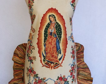 Women's Apron, Mother of Mexico, Virgen de Guadalupe, Religious Print, Apron