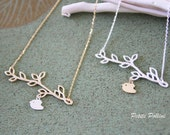 A Little Birdie Under The Tree Necklace in Matt Silver/ Silver. Cute and Sweet. Nature. Gift For Her (PNL-43
