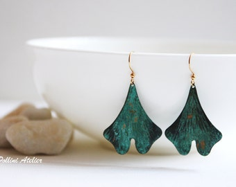 Ginkgo Leaves Earrings. Dangle Earrings. Statement Earrings. Botanical Jewelry. Gift For Her (VER-40)