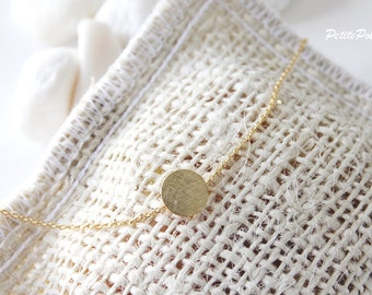 Gold Disc Bracelet in Silver/ Gold. Simple Modern. Minimalist. Everyday Wear. Gift For Her (PBL-20)